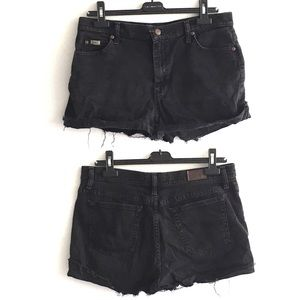 LEE Vintage Denim Cut Off Shorts High Waist Black